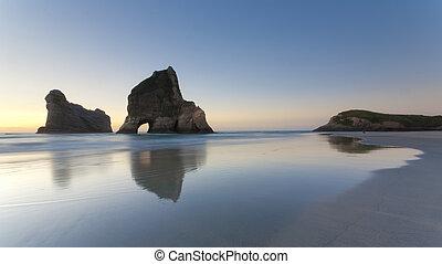 zealand, 浜, 北の 島, 砂, 形成, wharariki, ネルソン, 岩, さざ波を起こされた, 新しい