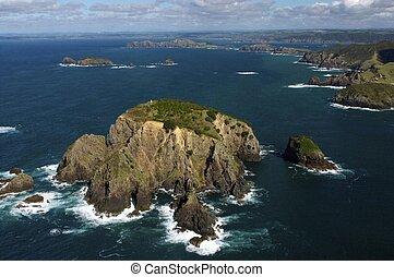 Zealand, 航空写真, 湾, 新しい, 島, 光景