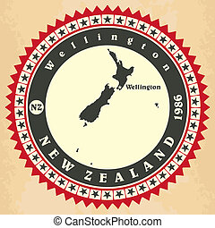 zealand., cartelle, vendemmia, label-sticker, nuovo