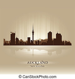 zealand, ciudad, silueta, auckland, contorno, nuevo