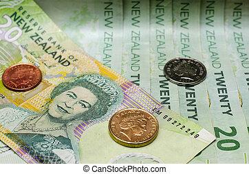 zealand, dinero, notas, coins, dólar, moneda, nuevo