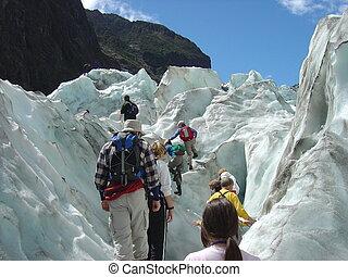 zealand, glaciar, joseph, nuevo, franz, montañismo