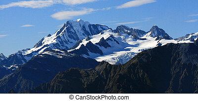 zealand, hegyek, alpok, déli, -, hó megtesz, új