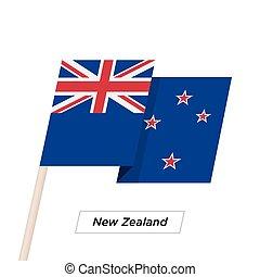 zealand, illustration., aislado, bandera ondeante, vector, white., nuevo, cinta