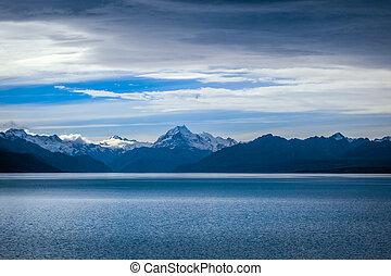 zealand, monte, lago pukaki, ocaso, nuevo, cocinero