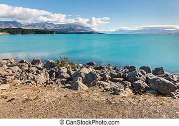 zealand, monte, lago pukaki, parque, cocinero, nuevo, nacional
