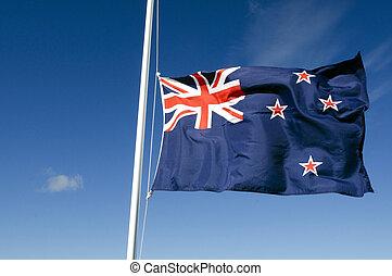 zealand, nemzeti, -, zászlók, új világ