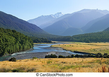 zealand, nuevo, paisaje de río, rural