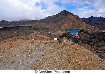zealand, nuevo, paisaje, volcánico