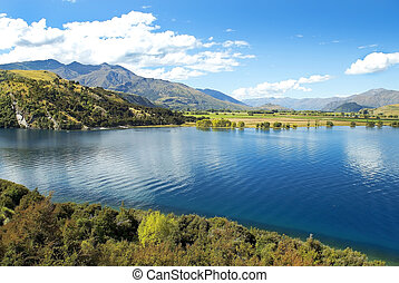 zealand, nuevo, sur, lago, paisaje
