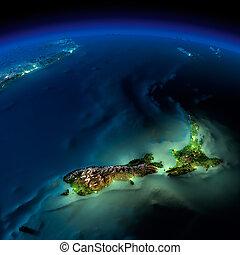 zealand, -, pacífico, noche, nuevo, earth.
