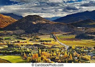 zealand, paisaje de montaña, nuevo
