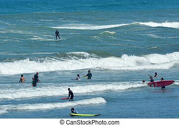 zealand, szörfözás, -, muriwai, új, tengerpart
