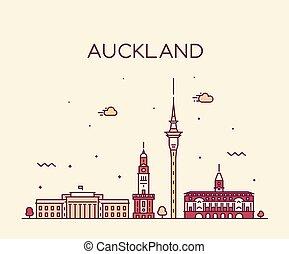 zealand, város, lineáris, auckland, láthatár, vektor, új