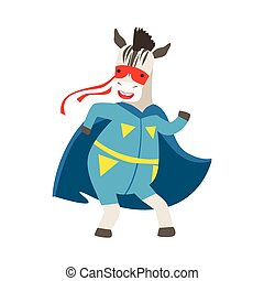 Zebra Animal Dressed As Superhero With A Cape Comic Masked Vigilante Character