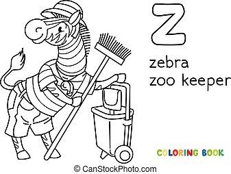 zebra, animal zoo, coloration, book., z, gardien, alphabet
