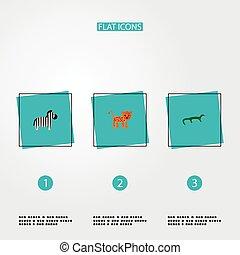 zebra, autre, toile, léopard, ensemble, style, zoologie, icônes, app, symboles, design., gecko, ton, plat, logo, mobile