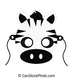 Zebra Carnival Mask. Striped Black White Animal