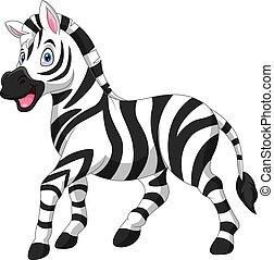 zebra, cartone animato, carino, divertente, stare in piedi
