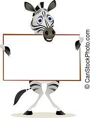 Zebra cartoon and blank sign