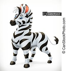 Zebra cartoon character. Funny animal, 3d vector icon