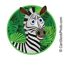 Zebra cartoon - Vector illustration of adorable zebra...