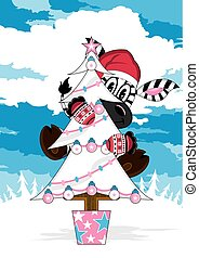 Zebra & Christmas Tree