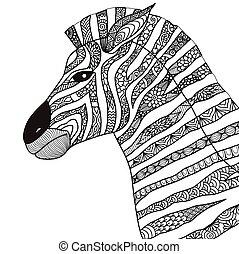 zebra coloring book - Zebra line art design for coloring...