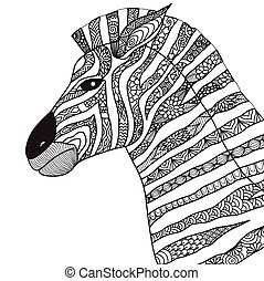 zebra coloring book - Zebra line art design for coloring...