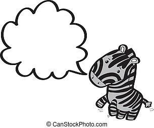 zebra, com, borbulho fala