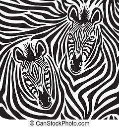 Zebra Couple - Seamless pattern of a pair of zebras.