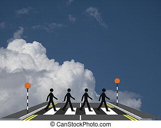 Zebra crossing - Four men on a zebra crossing against a...