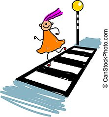 little girl crossing the road at a zebra crossing - toddler art series