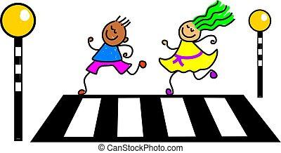 kids crossing the road at a zebra crossing - toddler art series