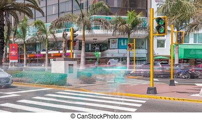 Zebra crossing near major road intersection on Plaza Grau ...