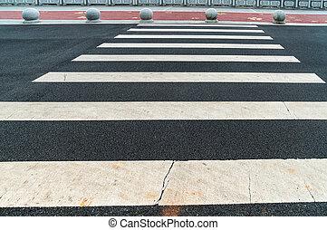 Zebra crossing on outdoor road