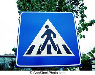 Zebra crossing sign for pedestrians