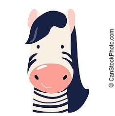 Zebra cute animal baby face vector illustration. Hand drawn style nursery character. Scandinavian funny kid design