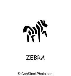 Zebra flat vector icon