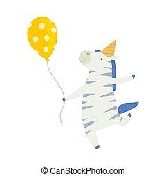 zebra, fondo., vector, caricatura, blanco, balloon., ilustración
