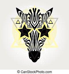 Zebra head. Tribal pattern