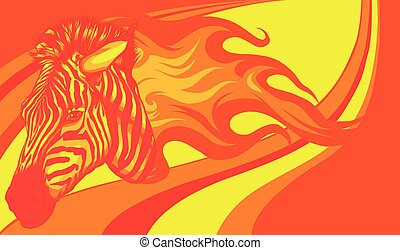 zebra head with flames Vector illustration design