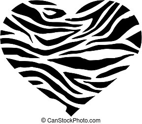 Zebra heart with pattern in two colors