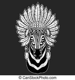 Zebra Horse Traditional ethnic indian boho headdress Tribal...