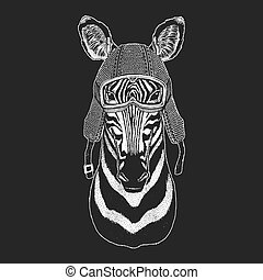 Zebra Horse. Vintage motorcycle hemlet. Retro style illustration with animal biker for children, kids clothing, t-shirts. Fashion print with cool character. Speed and freedom.