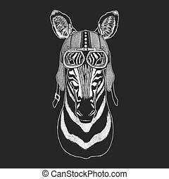 Zebra, Horse Vintage motorcycle hemlet. Retro style illustration with animal biker for children, kids clothing, t-shirts. Fashion print with cool character. Speed and freedom.