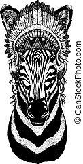 Zebra, horse. Wild animal wearing inidan headdress with...