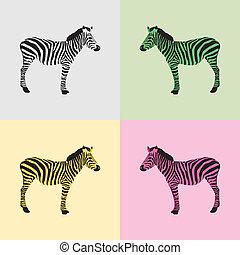 Zebra in black, white, green,yellow
