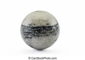 Zebra jasper polished sphere on white backgroud