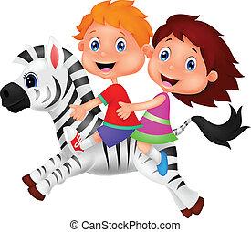 zebra, jongen, meisje, spotprent, paardrijden